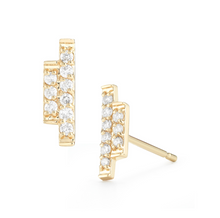 Load image into Gallery viewer, yellow gold sidebar earrings