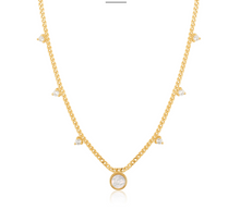 Load image into Gallery viewer, Gold Mother Of Pearl Drop Disc Necklace