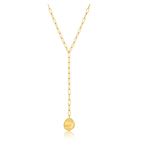 Gold Crush Disc Y Necklace