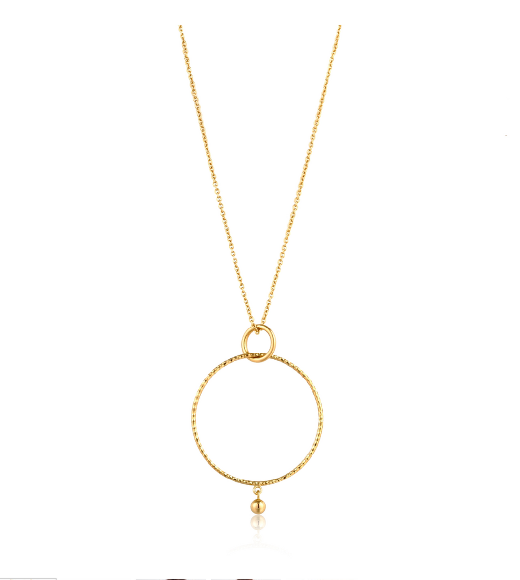 Gold Texture Double Circle Pendant Necklace