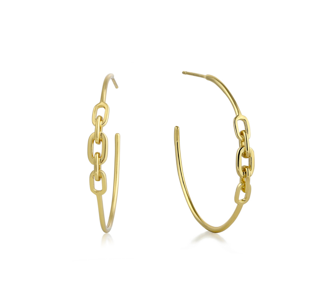 Gold Links Hoop Earrings