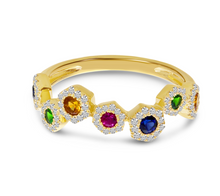 Load image into Gallery viewer, Hexagon Rainbow Sapphire Ring
