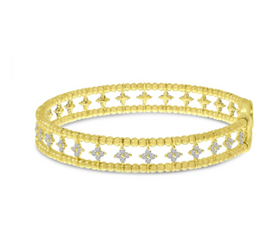 Double Row Flower Diamond Cuff