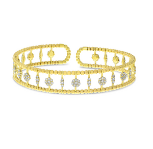 Double Row Shapes Diamond Cuff