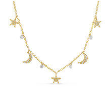 Load image into Gallery viewer, Dashing Diamonds Star & Moon Necklace