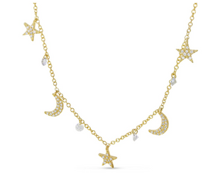 Dashing Diamonds Star & Moon Necklace