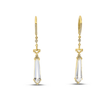 Load image into Gallery viewer, Long Fancy Cut White Topaz Earrings
