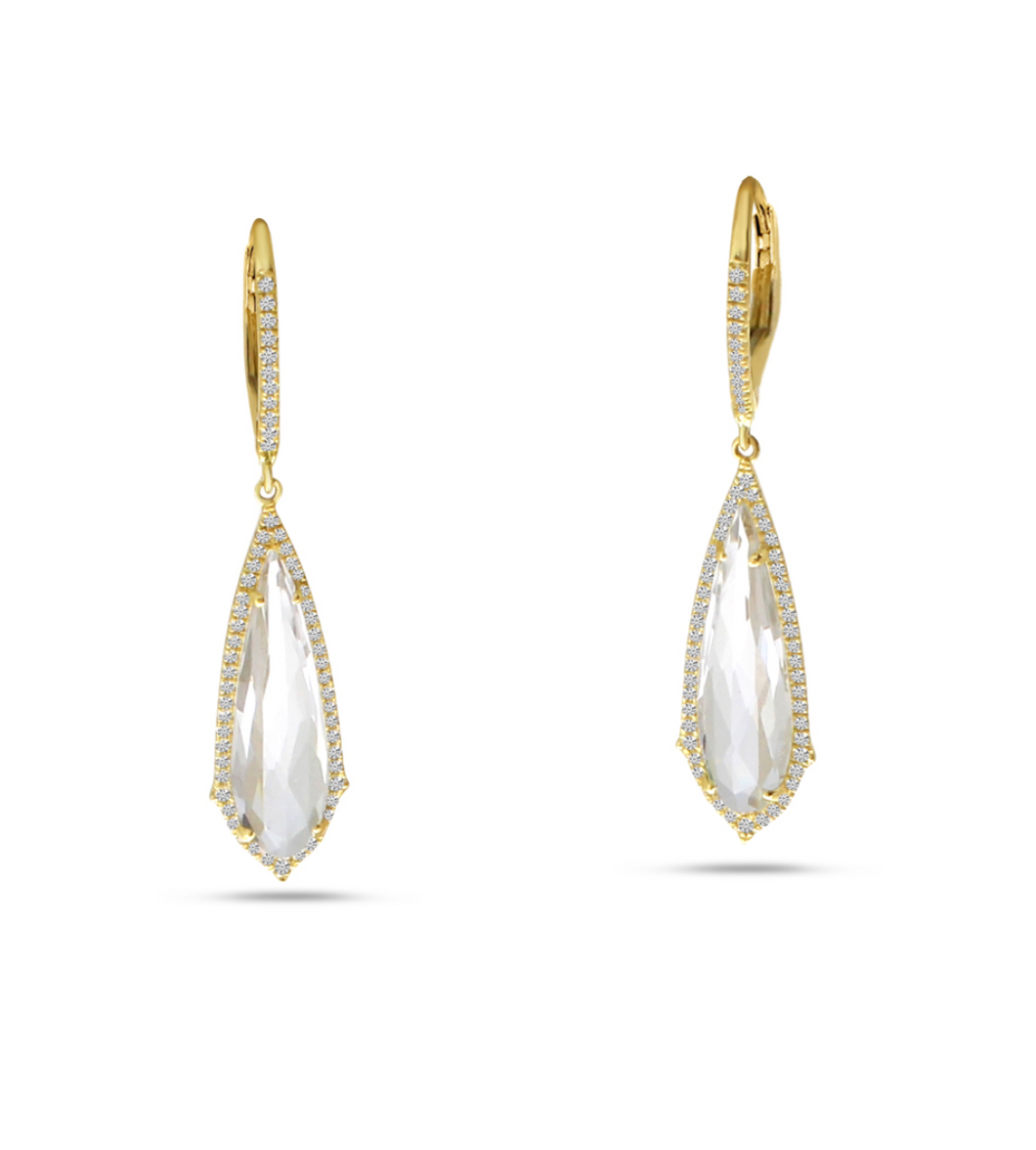 Fancy White Topaz Dangle Earrings