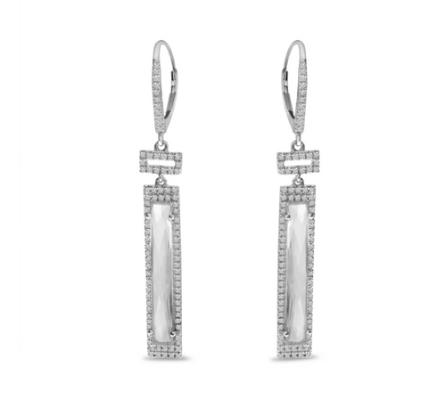 Long Cut Rectangle White Topaz Earrings