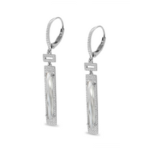 Load image into Gallery viewer, Long Cut Rectangle White Topaz Earrings