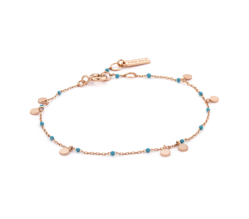 Rose Gold Dotted Drop Discs Bracelet
