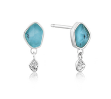 Load image into Gallery viewer, Turquoise Drop Silver Stud Earrings