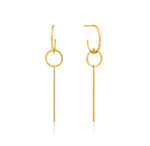 Gold Modern Solid Drop Earrings