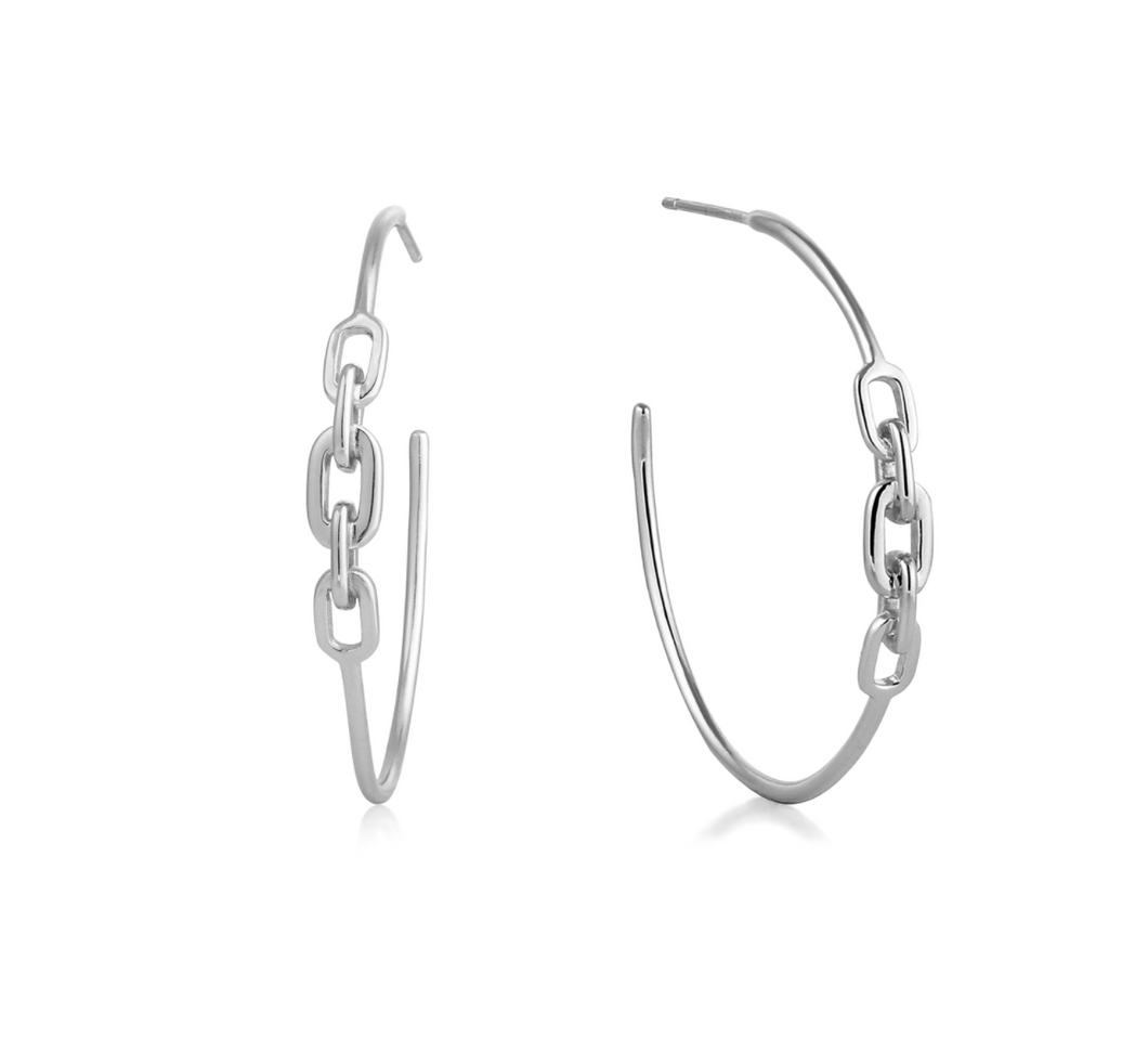 Silver Links Hoop Earrings