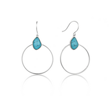 Load image into Gallery viewer, Turquoise Front Hoop Silver Earrings