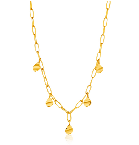 gold crush drop necklace