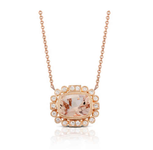morganite halo necklace