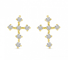 Load image into Gallery viewer, mini diamond cross earrings