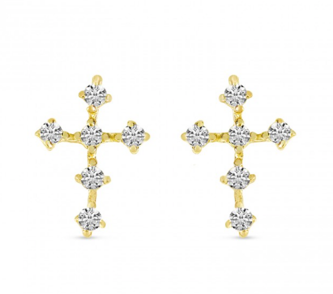 mini diamond cross earrings