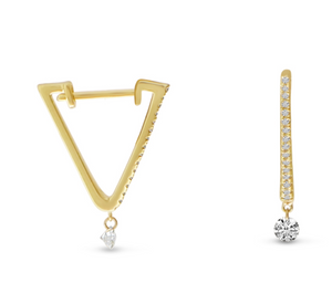 Dashing Triangle Huggie Earrings