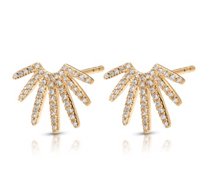 Diamond Sun-Fan Earrings