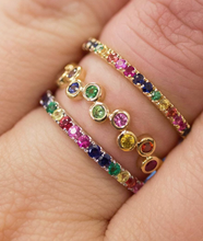 Load image into Gallery viewer, Rainbow Sapphire Stacker Band