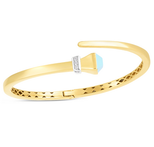 14k Turquoise & Diamond Wrap Bangle