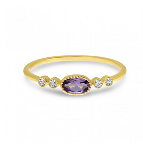 Oval Amethyst and Diamond Stackable