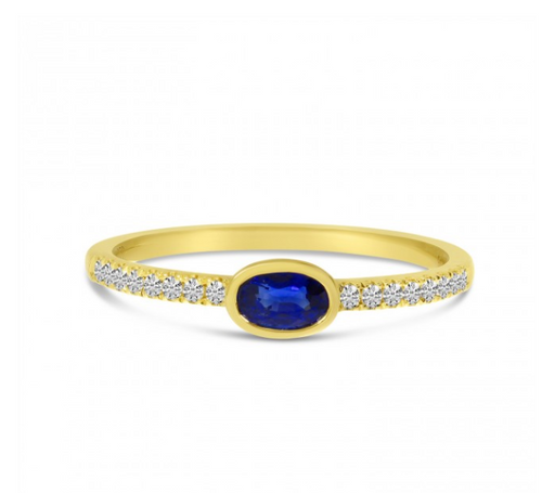 East West Oval Sapphire & Diamond Ring