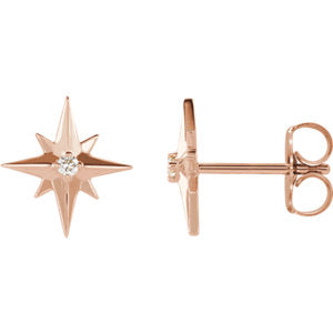 Diamond starburst earrings rose gold