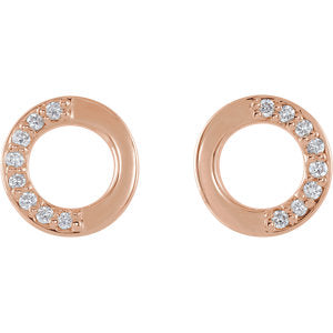 Mini Circle Half Diamond Earrings