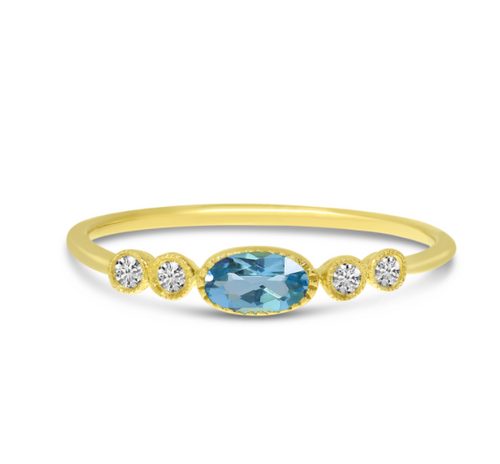 Oval Blue Topaz and Diamond Stackable