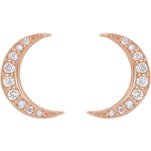 Diamond moon earrings rose gold