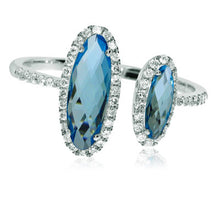 Load image into Gallery viewer, Offset Blue Topaz Ring