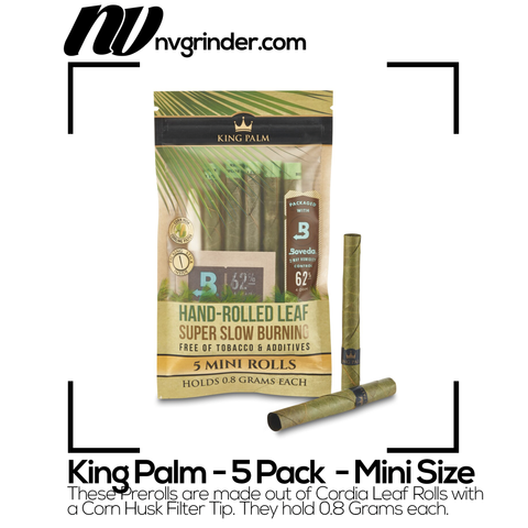King Palm | Mini Size - Natural Pre-Rolled Cones with Boveda Pack (5-Pack)