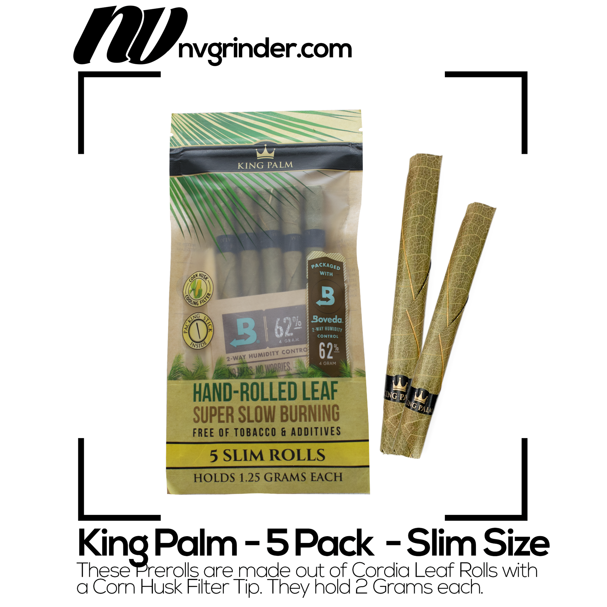 King Palm | Slim Size - Natural Pre-Rolled Cones with Boveda Pack (5-Pack)