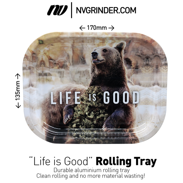 "Aluminium Rolling Tray  - ""Life is Good"""