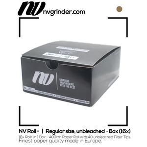 NV Roll+ | Regular size, unbleached Paper Rolls & Filter Tips (Box)