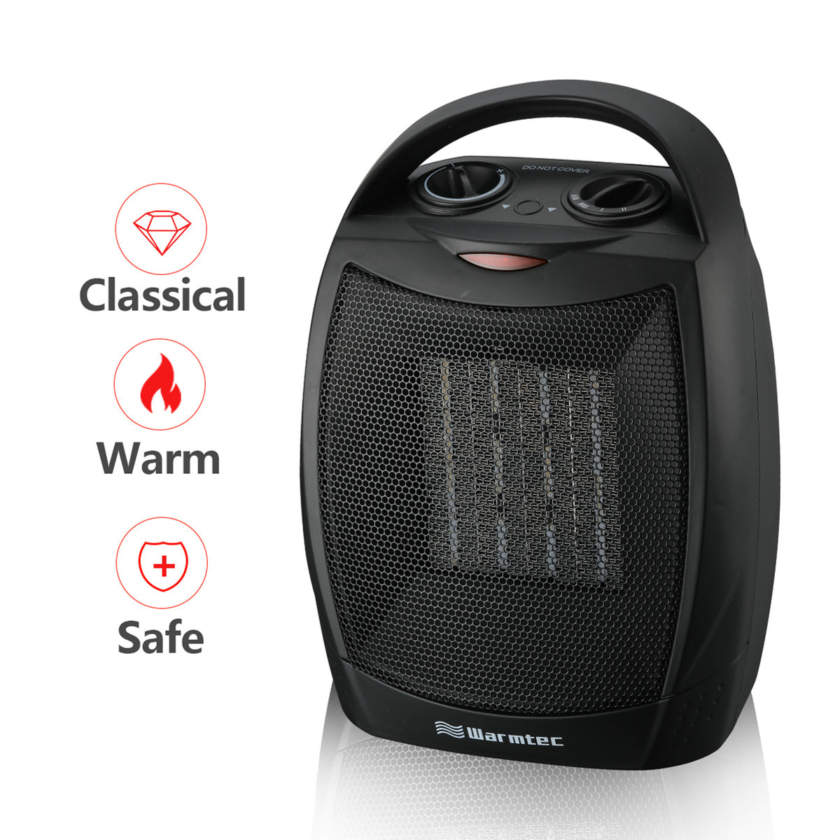 Warmtec 1500w Ceramic Space Heater With Carry Handle Adjustable