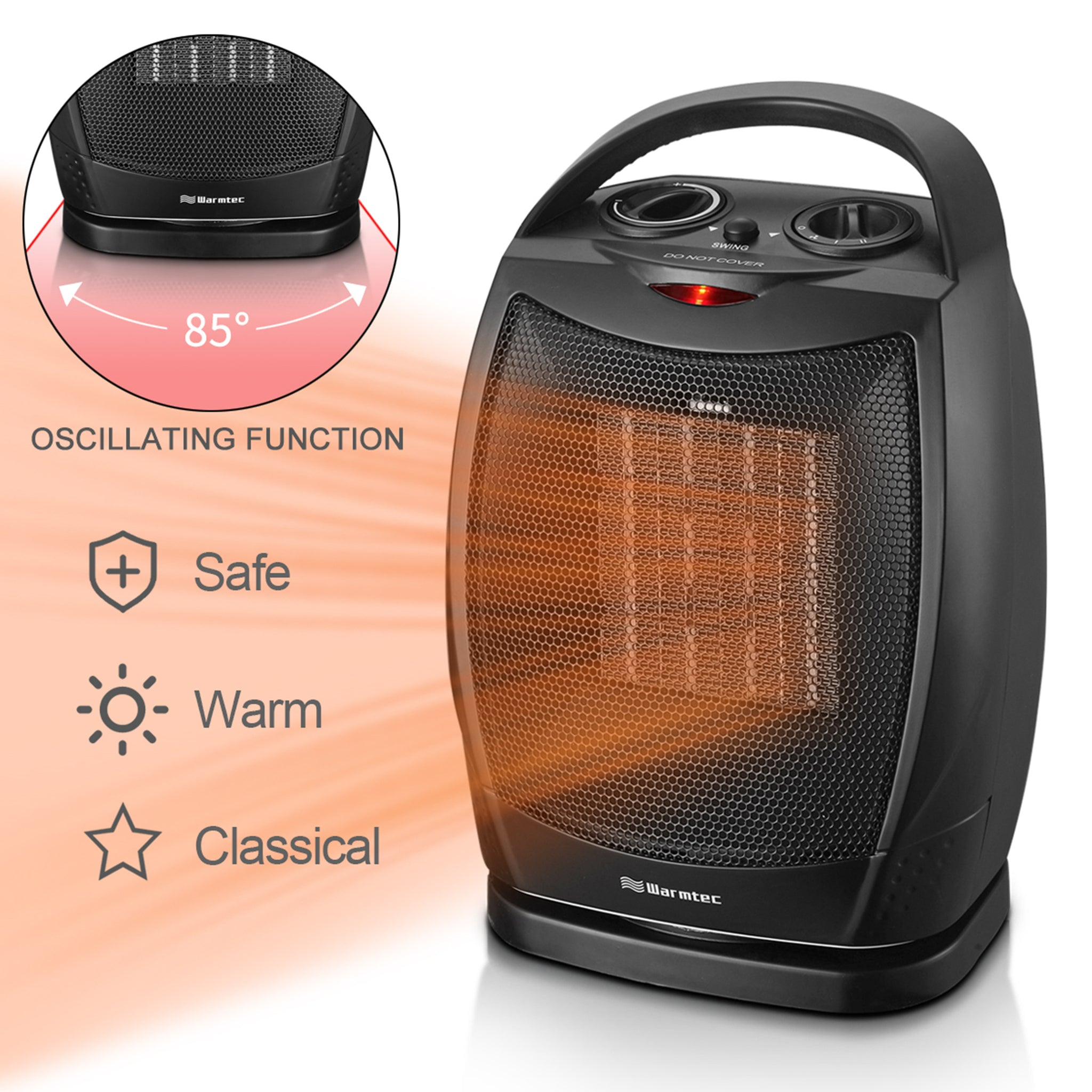 Ceramic 1500w Electric Portable Indoor Room Space Heater w//Adjustable Thermostat