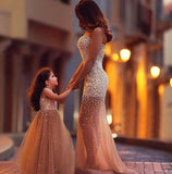 ring bearer outfit - Mother Daughter Wedding Dresses Girls golden Diamond Drill Dress - MeAndMommy