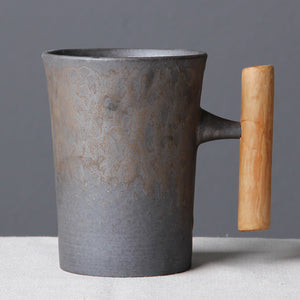 Japanese Antique Mug With Wooden Handle