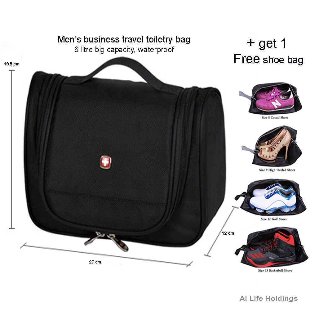 men Travel Multifunction Toiletry Cosmetic Bag Makeup Case Pouch Storage Case with free show travel bag
