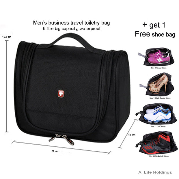 Mens Travel Toiletry Bag - Large Hanging Toiletry Bag Travel Bags For Toiletries - Professional Hygiene Organizer - Shower Bag - AI LIFE HOLDINGS