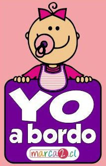 Sticker auto : Yo a bordo rosado