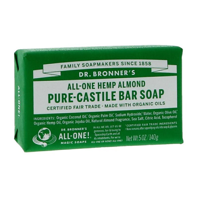 Dr Bronner's Almond Pure Castile Bar Soap 140g