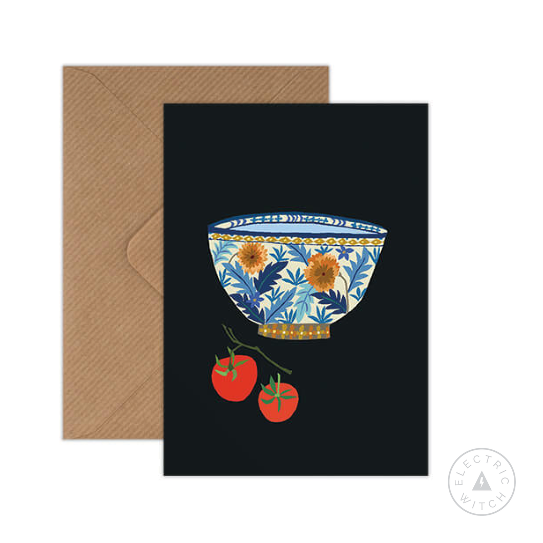 Bowl & Tomatoes Greetings Card