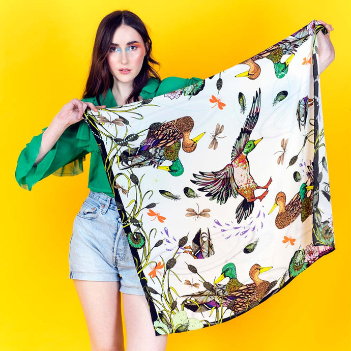 Ducking and Diving Silk Scarf