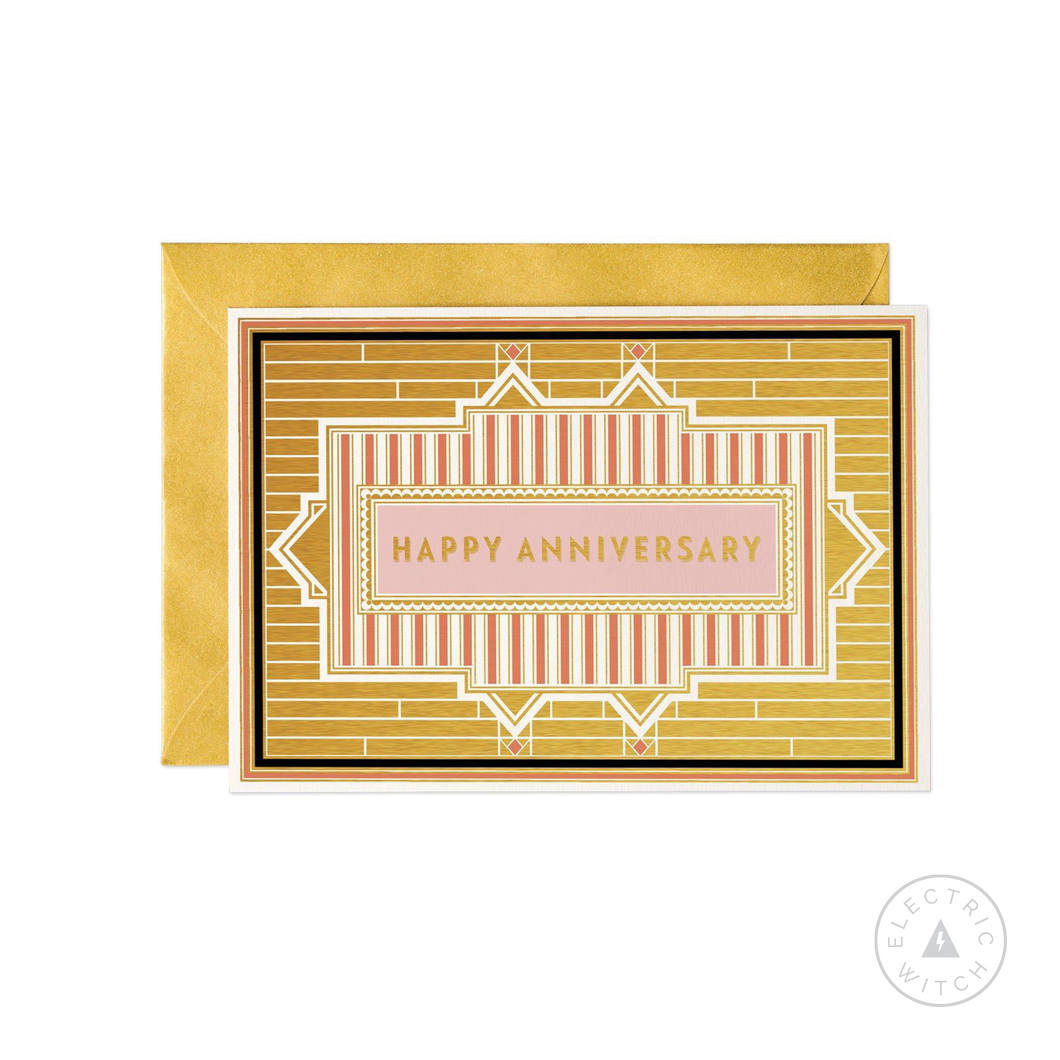 Happy Anniversary - Art Deco Greetings Card