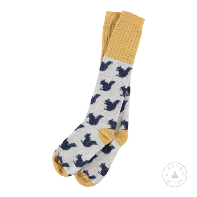 Ladies Lambswool Navy Blue Squirrel Socks